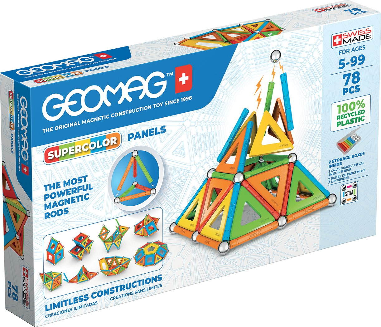 GEOMAG WORLD SUPERCOLOR PANELS RECYCLED 78 PEZZI 379