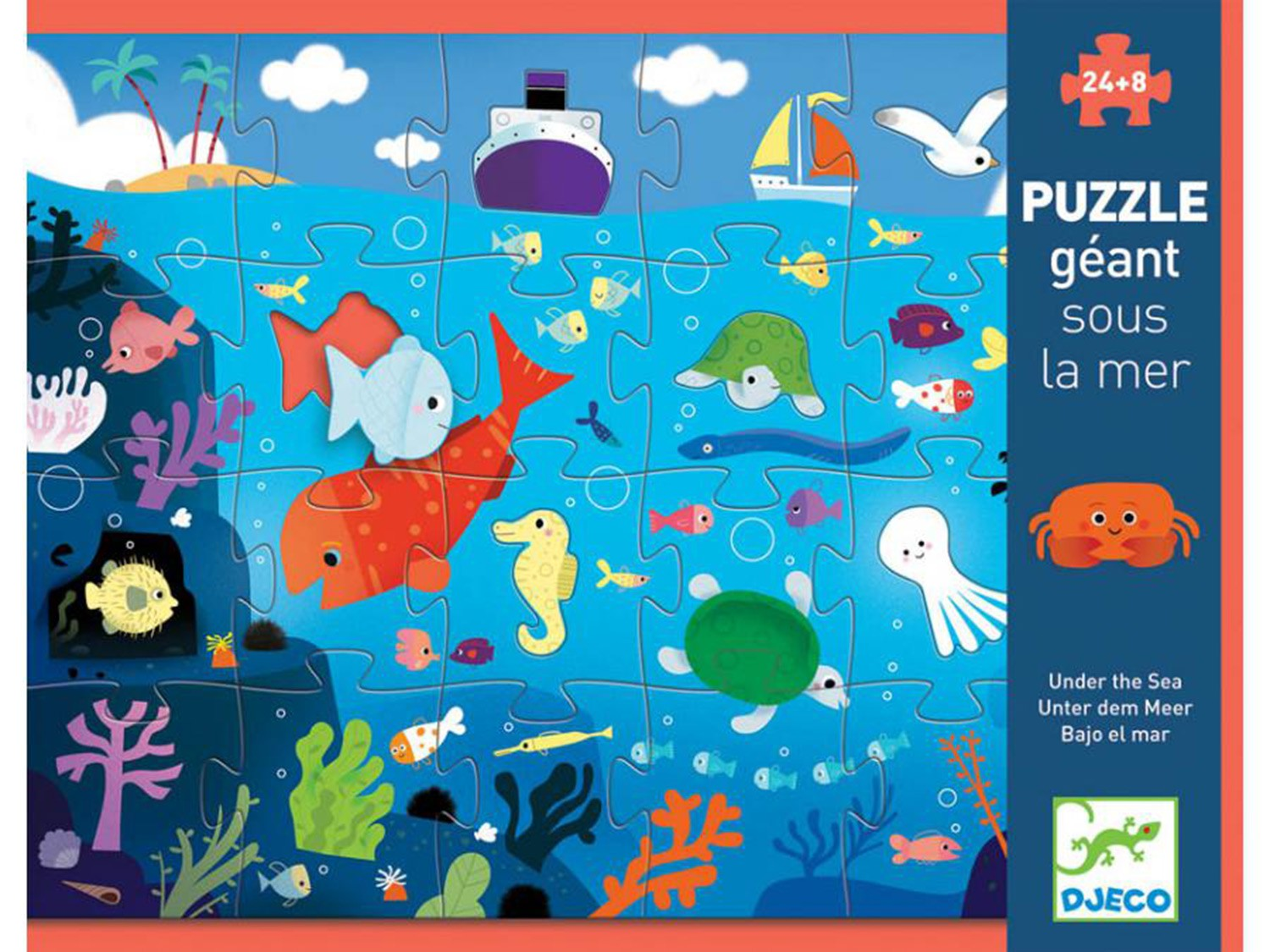 DJECO GIANT PUZZLE - UNDER THE SEE 24+8 GRANDI PEZZI DJ07116