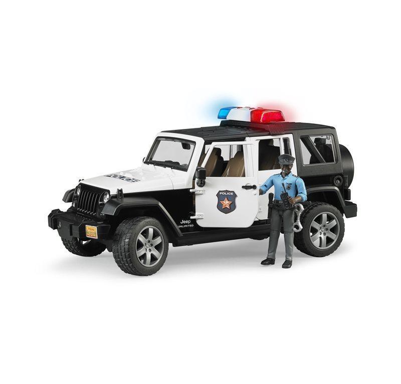 BRUDER JEEP WRANGLER UNLIMITED RUBICON DELLA POLIZIA CON POLIZIOTTO E ACCESSORI 2527