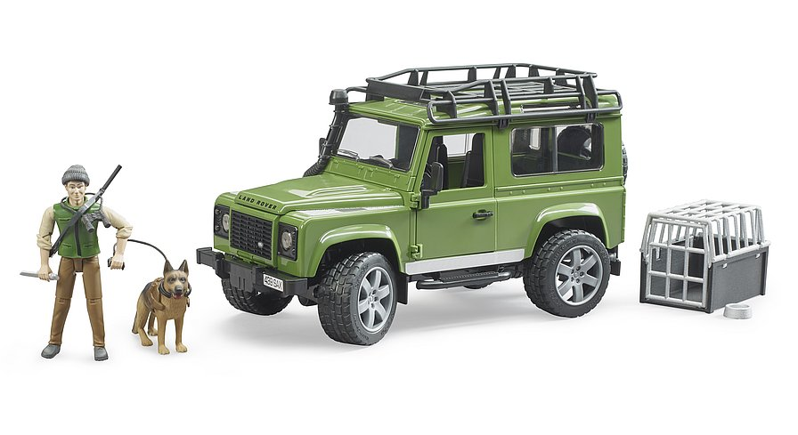 BRUDER LAND ROVER DEFENDER STATION WAGON CON FORESTALE E CANE 02587