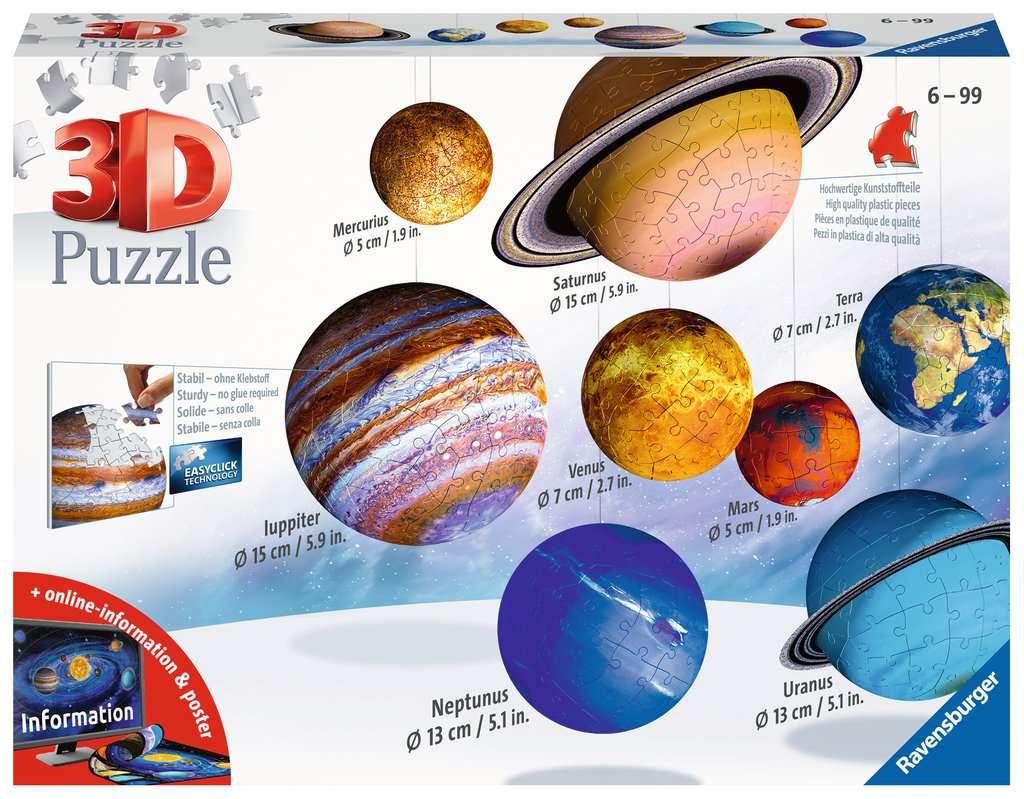 RAVENSBURGER 3D PUZZLE IL SISTEMA PLANETARIO 11668