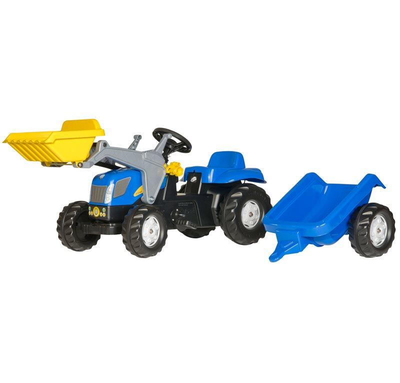 ROLLY TOYS ROLLY KID NEW HOLLAND T 7040 CON RUSPA E RIMORCHIO cod. 023929