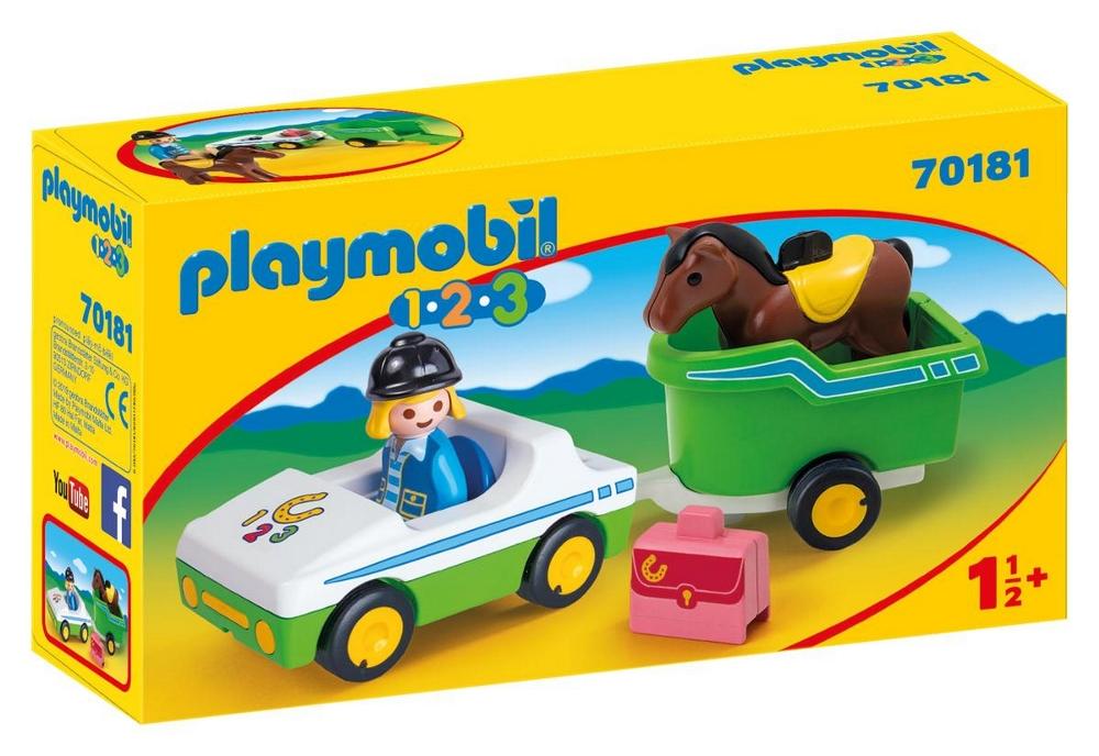 PLAYMOBIL AUTO CON TRASPORTO CAVAVALLI 1.2.3. 70181