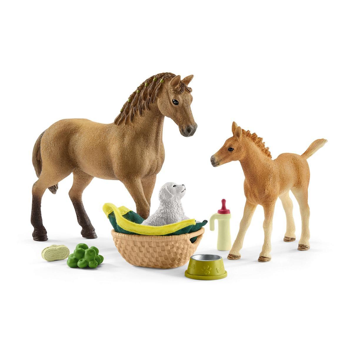 SCHLEICH KIT DI CURA PER PULEDRI E CAVALLI QUARTER HORSE CON CUCCIOLO 42432