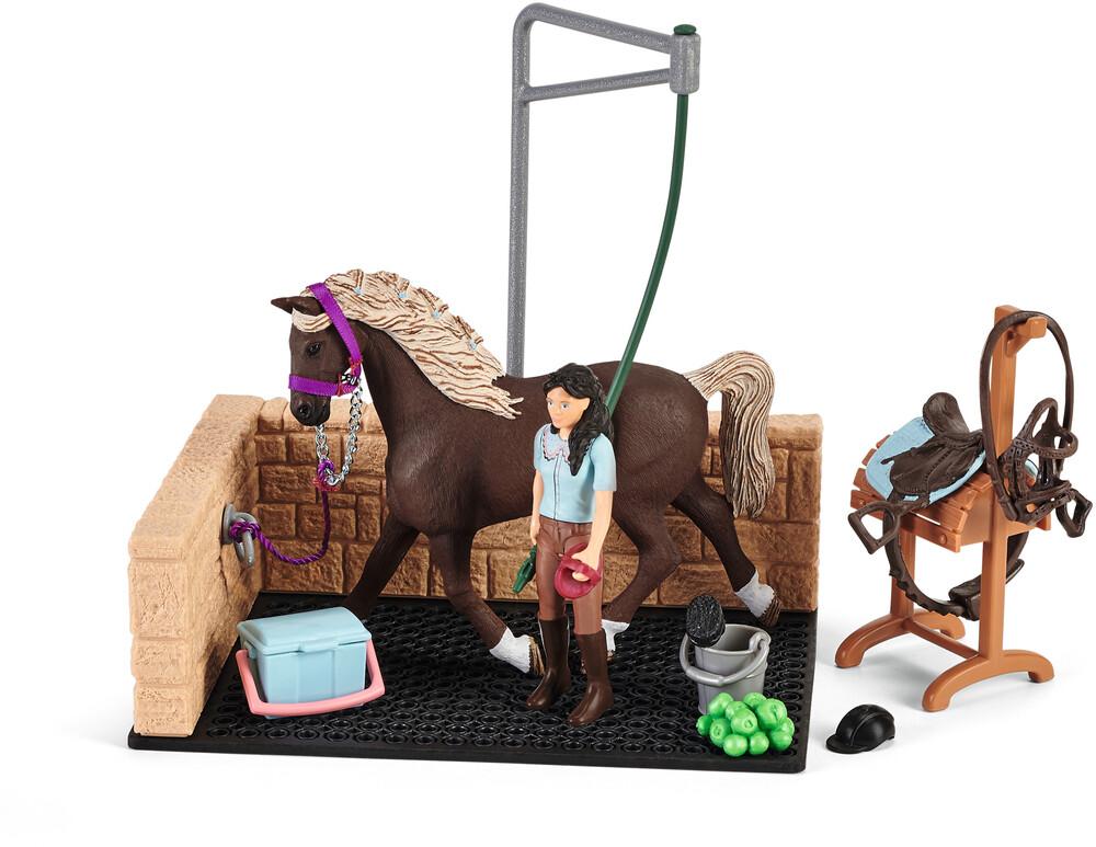 SCHLEICH HORSE CLUB ZONA LAVAGGIO CON EMILY E IL SUO CAVALLO LUNA 42438