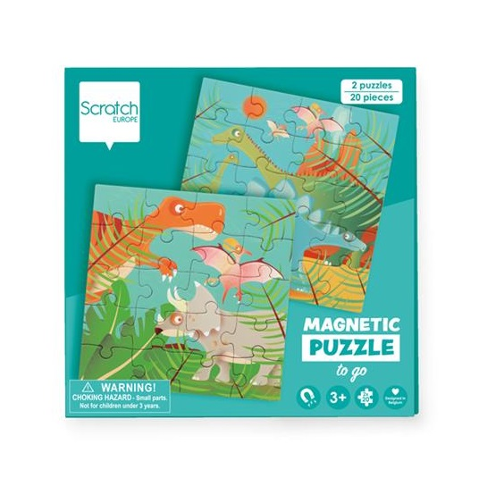 SCRATCH PUZZLES MAGNETIC PUZZLE BOOK TO GO - DINOSAURS SCRATCH PUZZLES