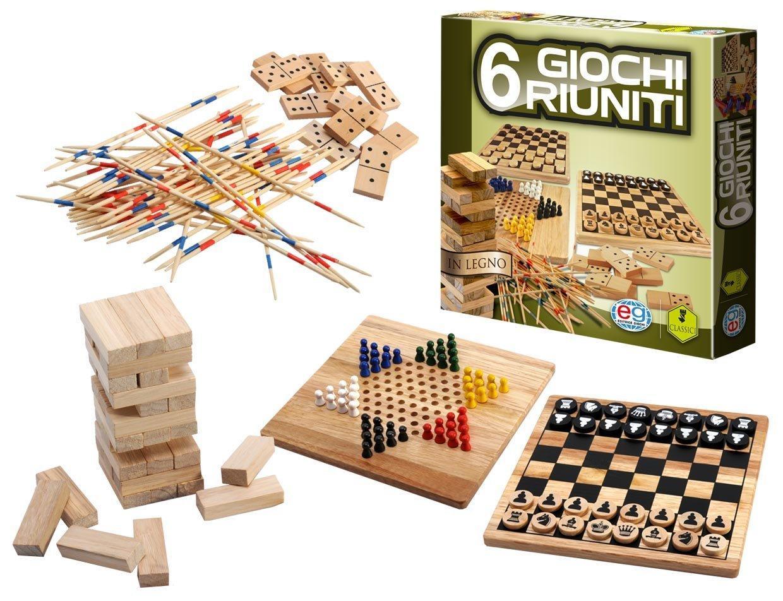 EDITRICE GIOCHI CLASSIC GAMES 6 GIOCHI RIUNITI IN LEGNO 6037248